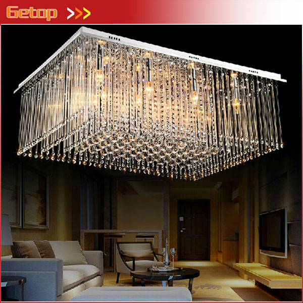 Meilleur prix nouveauté moderne rectangulaire lustres en cristal K9 lampe de plafond LED cristal salon luminaires