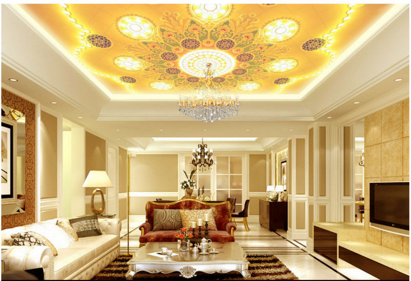 Free Postage To The High End Luxury Solid Gold Ceiling Frescoes Zenith  Ceiling Chandelier Wall Wallpaper In Wallpapers From Home Improvement On ...