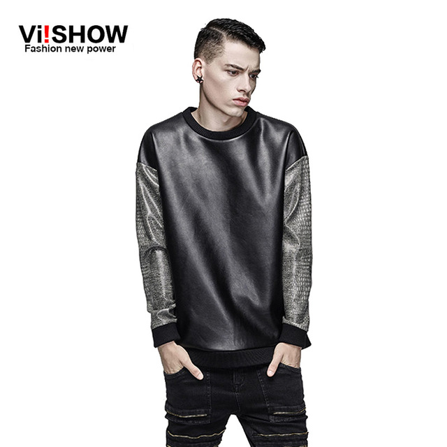 2016 fashion o neck black pu leather sweatshirt leather sleeve ...