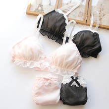 YOURMIX Top Quality Wirefree Relax and Comfortable Lolita and Kawaii Lace Floral Bra and Brief Sets(China)