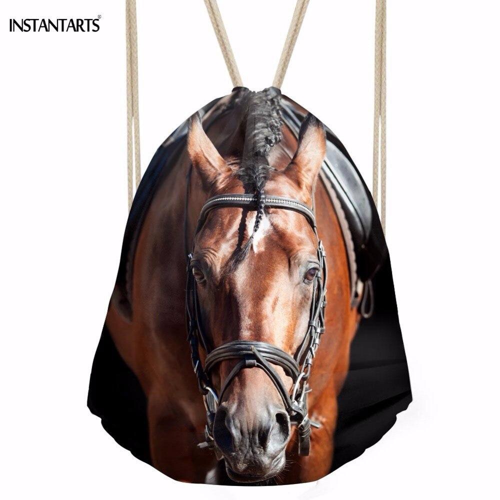 100% QualitäT Instantarts 3d Tier Crazy Horse Gedruckt Frauen Männer Kordelzug Taschen Softback Aufbewahrungsbeutel Für Teen Mädchen Punch Tasche Rucksäcke