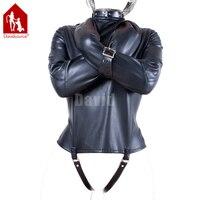 Davidsource Black Leather Body Harness Binding Shirt Zip Lockable Adjustable Belt Slave Fetish Bondage Positioning Sex Kit