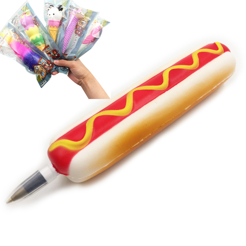 PU Foam Soft Squishy Hot Dog Bread Ball Pen Holder Toppers Slow Rising Bun Stress Relief Elastic Pencil School Gift Toy For Kids