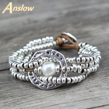 Anslow Fashion Jewelry New Round With Round Sea Shell Multilayer Silver Beaded Bracelet Mother's Christmas Day Gift LOW0653LB