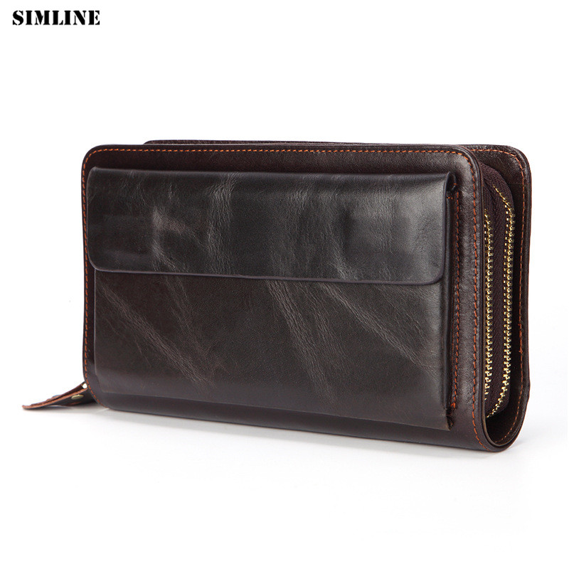 цена на SIMLINE 100% Genuine Leather Men Clutch Wallet Men's Long Double Zipper Wallets Money Card Holder Clutch Bag Male Large Capacity
