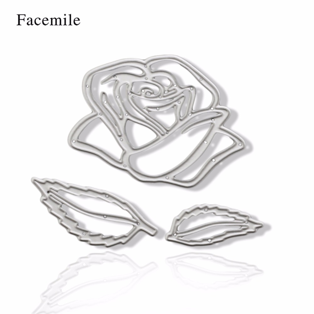 3pcs Metal Rose Flowers Wedding Cutting Dies Cut Stencil Decorative