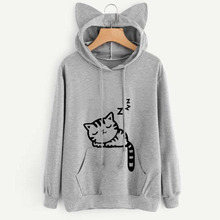 Cat Pattern Printing Hoodies With Lovely Ear Long Sleeve Autumn Front Pocket Drawstring Sweatshirt Sudadera Mujer Ey*