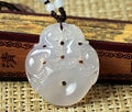 2pcs lots Top Quality White Clear Agate Carved Double PiXiu Coin Lucky Blessing Pendant necklace free rope Fine Jade Jewelry