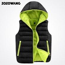 Zozowang 2017 Autumn Mens Hooded Thick Vests Women Waistcoats Warm Jackets Winter Sleeveless Coats Brand Clothing