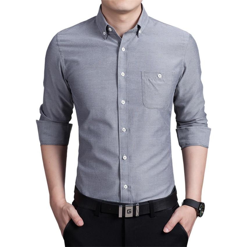 Pure Kleur mannen Lange Mouwen Grote Maat 5XL Multi Kleur Keuze Fashion Business Bruiloft Slanke Elegante Man Shirts