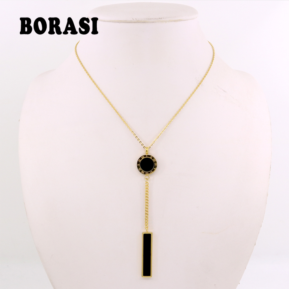 Summer European Chic Long Geometric Pendant Necklace Gold Color Stainless Steel Chains Necklace Brand Jewelry for Girls
