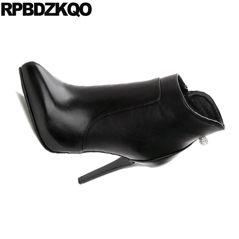 Size 34 Women Waterproof Short Fur Rhinestone Stiletto Sexy Booties Side  Zip Boots Platform European High Heel Pointy Fashion-in Ankle Boots from  Shoes on ... 32a7f94be208