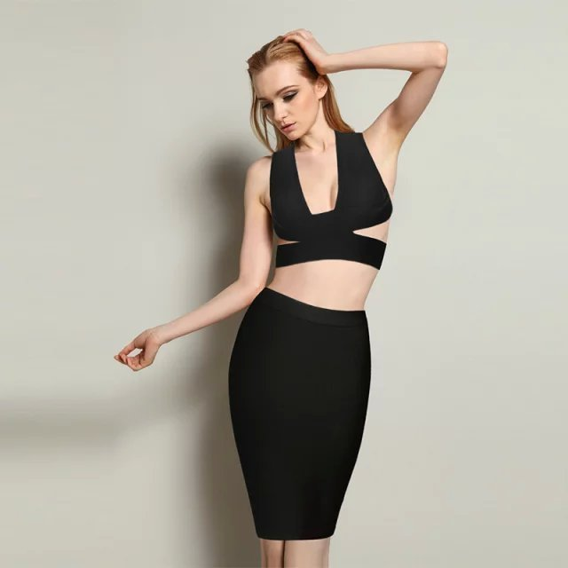 New Solid Nude Sexy Long Sleeve Bodycon Rayon HL 2 Piece