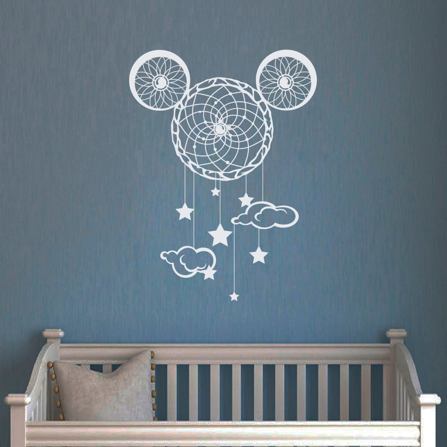 dreamcatcher wall decals mickey mouse vinyl decal nursery dream catcher sticker kids baby. Black Bedroom Furniture Sets. Home Design Ideas