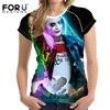 FORUDESIGNS 3D T Shirt Women Short Sleeved Fashion Girls Cool Tops Tees Harley Quinn Character Printed
