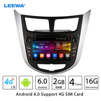 LEEWA 7 Android 6.0 (64bit) DDR3 2G/16G/4G LTE Quad Core Car DVD GPS Radio Head Unit For Hyundai Verna/Accent/Solaris/i25