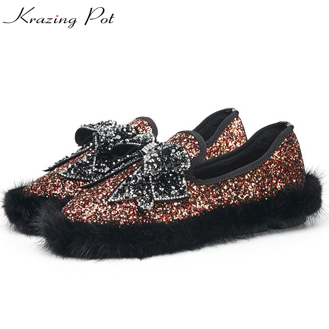 Krazing pot mink hair flats round toe bling cloth superstar crystal bowtie slip on loafers fashion pregnant women lazy shoes L30 women round toe flower ladies beautiful flats shoes green fashion rubber sole applique loafers walking slip on embellished 2017