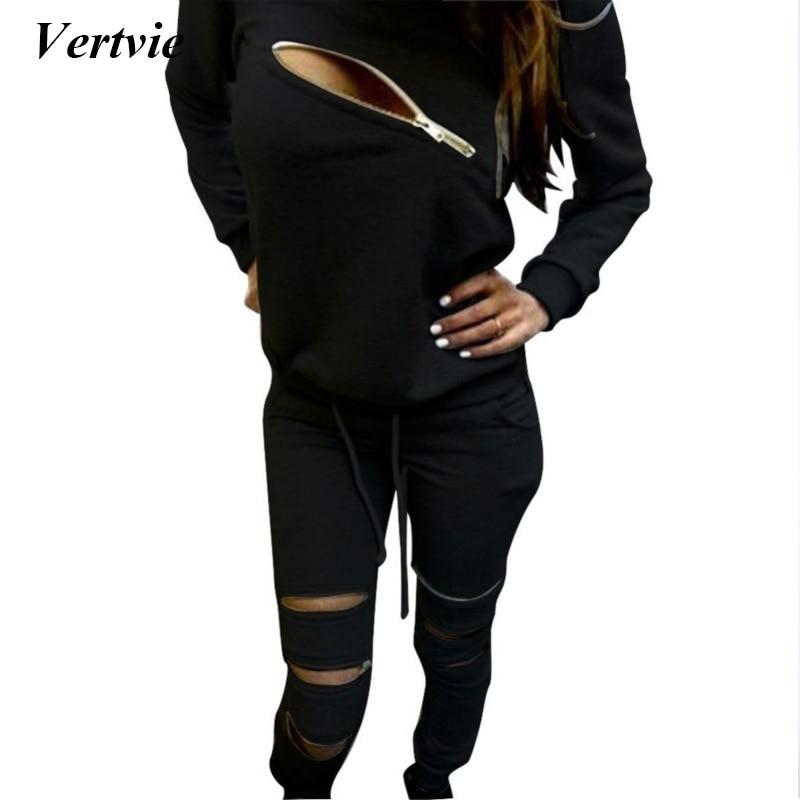 Vertvie Hollow Sport Suit Women Tracksuit Sets Sexy Zippered Long Sleeve Sweatshirt+Sport Pants Two Piece Set Jogging Suits