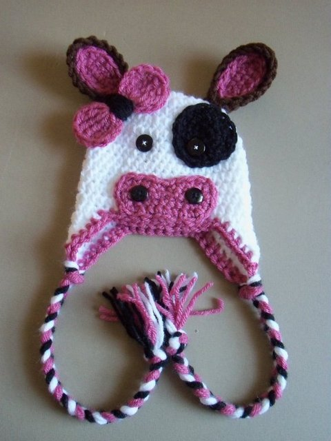 Free Shipping Baby Crochet Cow Hat Earflap Braids Toddler Cow Hat