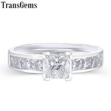 Transgems 14K White Gold 1.4CTW 0.7ct 5mm F Color Princess Cut Moissanite Engagement Ring with 2.5mm Side Stone