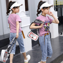 girls clothes Children's clothing girls suit short-sleeved T-shirt 2019  new t-shirt denim shorts 2-piece suit children sets недорого