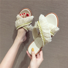 цены 2019 Women Summer Flat Slippers Rhinestone Tassel Casual Shoes Fringed Slides Lazy Slippers Women Beach Flip Flops Slides Shoes