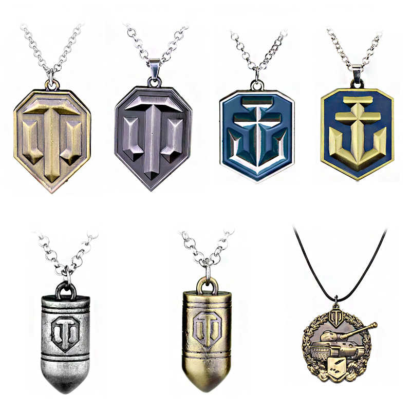 Game World Of Tank Pendant Necklace Fashion Metal Alloy Tank Logo WOT Bullet Statement Necklace Jewelry Gift For Man