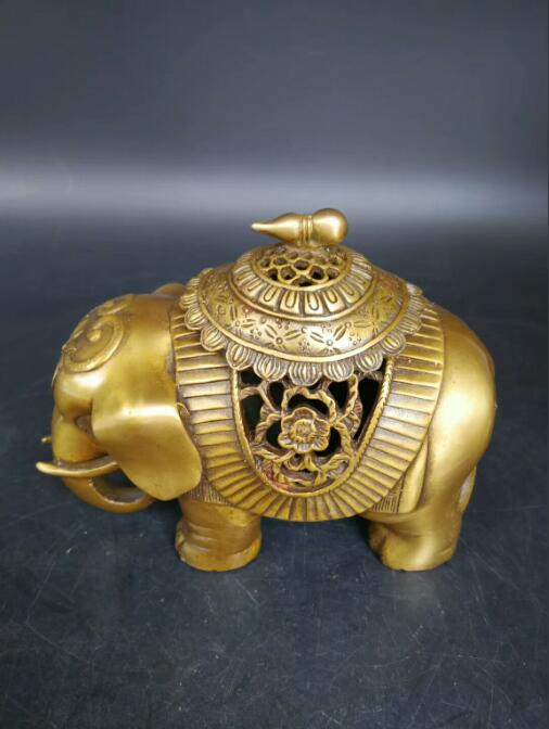 Chinese Home Furnishing indoor antique pure Elephant Elephant Buddhist temple copper aromatherapy incense burners