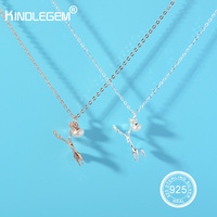 Kindlegem Original Design 100% Real 925 Sterling Silver Clever Deer Pendant Necklace Pearl Jewelry Best Gift For Women Girl