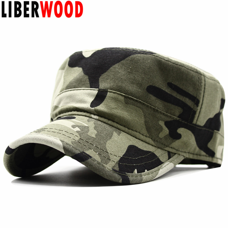 Olive Green Military Army Style Adjustable Flat Top GI Cap Caps Hat Hats