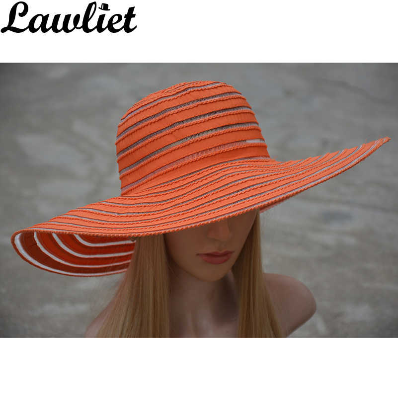 Kentucky Derby Hoed 2017 Zomer Mode Dame Zonnehoed Strand Cap Shading Polyester Brede Rand Effen Strepen Hoeden Vrouwen Zon Hoeden A269