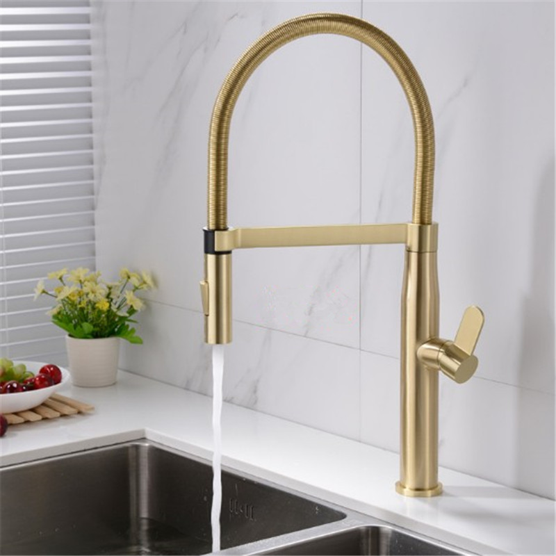 Kitchen Sink Faucets Brass Pull Down Spray Nozzle Mixer Tap Single Handle Hot & Cold Rotating Brushed Gold/Black Water Crane Tap