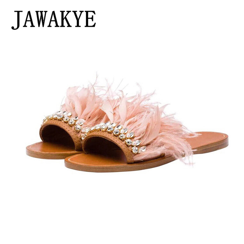 JAWAKYE Pink Blue Feather Flat Slippers Women Crystal Open Toe flipflops Flats Sandals Summer Shoes Fur Slides Beach Slippers brand rousmery blue rabbit fur women slippers gladiator flat sandals lady summer flats casual shoes woman slides slingback shoes