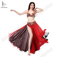 Oriental Bra Belly Dance Clothes Eastern Women Dance Wear Oriental Beaded Set Bra Belt Long Skirt Costume Stage Professional