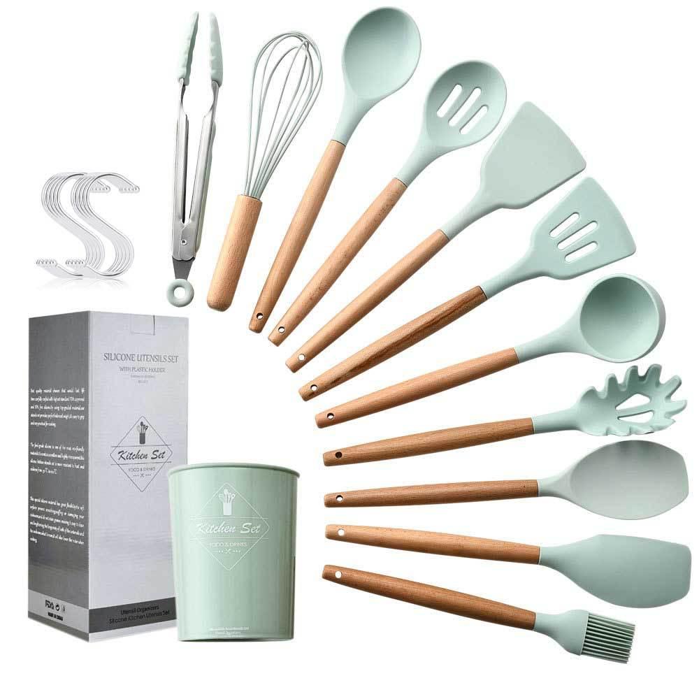 Nouveau 11 pièces Vert Spatule En Silicone résistant à La Chaleur Soupe Cuillère Non-bâton Spécial Cuisine Cuisine Outils Ensemble Avec 10 crochets Cuisine