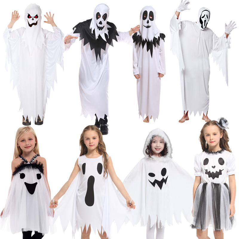 Free Shipping Halloween Children's Costume Ghost Set Adult Kids Performance Costume Elf Dress Up Boys And Girls Ghost Clothes