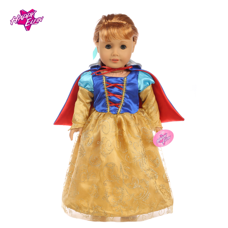 American Girl Doll Clothes Snow White Cosplay Costume Doll Clothes for 18 inch Dolls Baby Born Doll Accessories american girl doll clothes halloween witch dress cosplay costume for 16 18 inches doll alexander dress doll accessories x 68