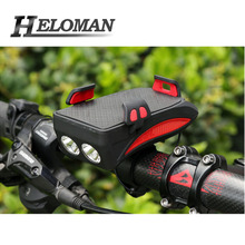 Bike Light USB Bicycle Phone Holder Cycling Waterproof Headlight Mobile Bracket Rechargeable