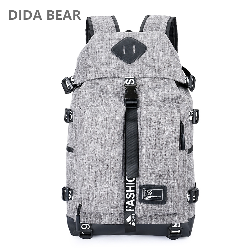 DIDA BEAR 2018 Men Backpacks For Travel Laptop Large Capacity Rucksack Waterproof Nylon Boys Girls School Backpack Unisex Women large capacity backpack laptop luggage travel school bags unisex men women canvas backpacks high quality casual rucksack purse