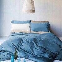 새로운 100% 면 침구 세트 그레이 실버 골드 이불 커버 세트 단색 300tc 킹 퀸 침대 4 개 화이트 레드 블루 베개