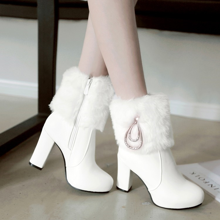 PXELENA Chic Wedding Boots Bride White Pink Black Faux Rabbit Fur Crystal Thick High Heels Ankle