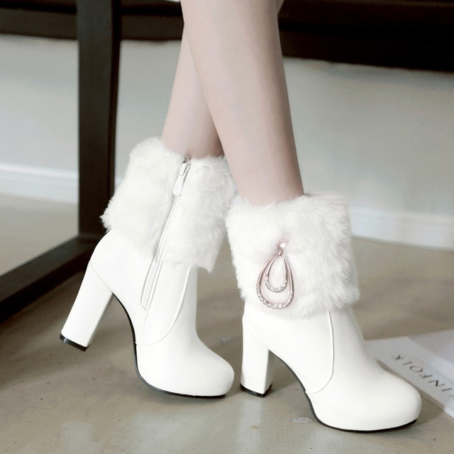 PXELENA Chic mariage bottes mariée blanc rose noir fausse fourrure de lapin cristal épais talons hauts bottines femmes 2018 hiver chaud