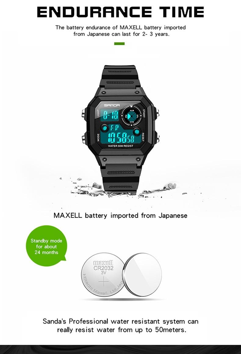 SANDA Men's Digital Sports Watch (Countdown, Waterproof, LED, Digital, Military)