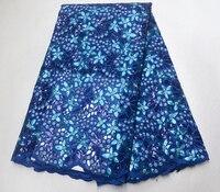 Африканский вышитая пайетками кружевная ткани 2019 самые новые блестящие ткани Высокое качество Тюль синяя кружевная ткань для вечерние пла