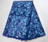 African embroidered Sequins lace fabrics 2019 Latest Sequin Fabric High Quality Tulle blue Lace Fabric For Party Dress