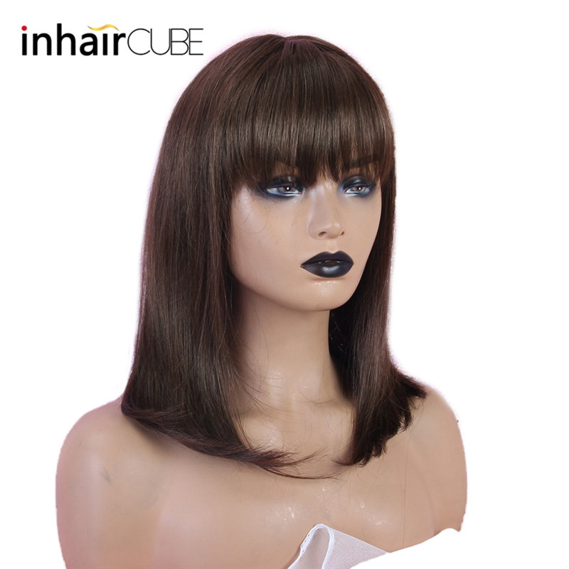 INHAIR CUBE Womens Wig Human Hair Straight Hair Wig Brown Medium Bangs 10 Free Shipping