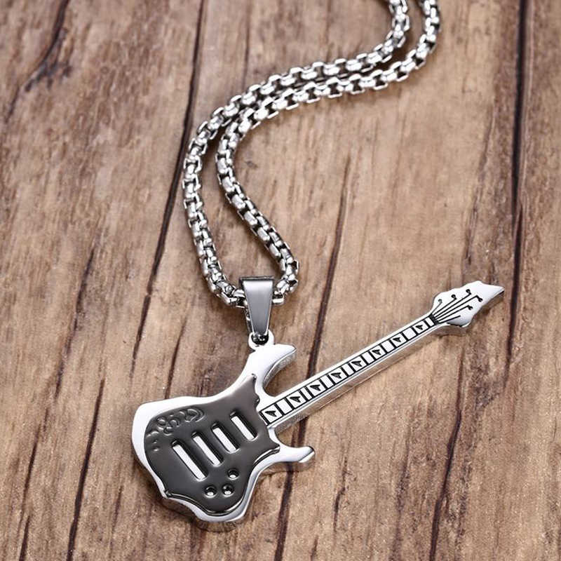 Cool Men Boys Black Electric Guitar Pendant Necklace Stainless Steel Mens Hiphop Rock Jewelry For Clothing Accessories