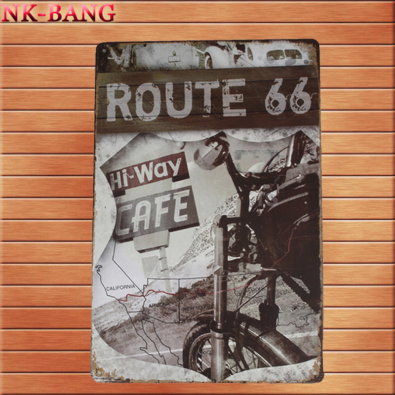 Route 66 Car Plates Painting Vintage Tin Sign Bar Pub Home Wall Decor Retro Metal Art Poster 20*30CM Best Price