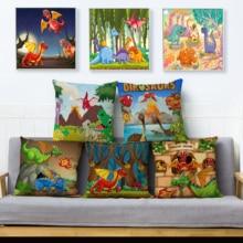 Cute Cartoon Animals Dinosaur Print Cushion Cover 45*45 Linen Pillow Covers Throw Pillows Cases Sofa Home Decor Pillowcase
