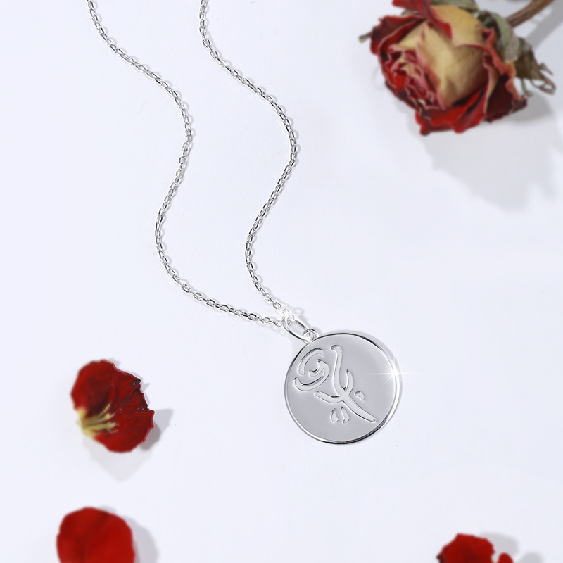 Hollow Rose Necklace Sterling Silver 925 Round Flower Pendant necklaces For Women Sterling Silver Jewelry Valentine 39 s Day Gift in Pendant Necklaces from Jewelry amp Accessories